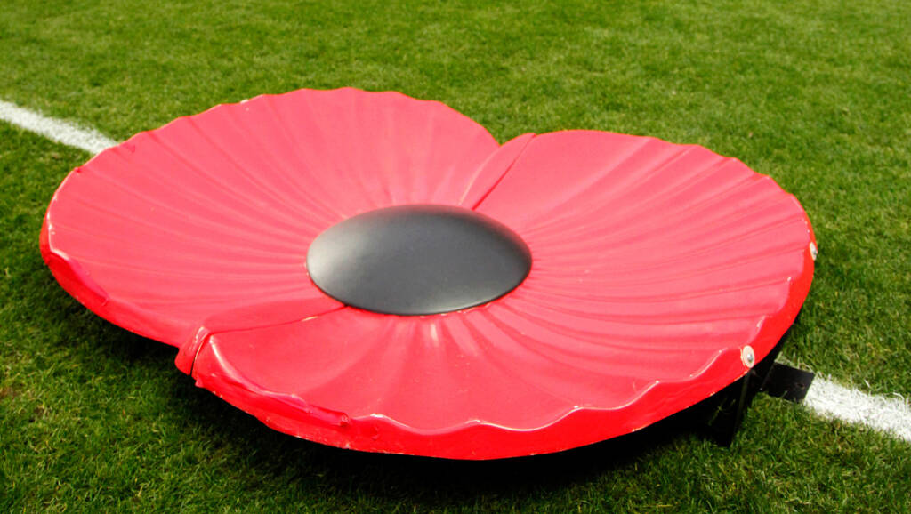 Photo: Richard Lane/Richard Lane Photography. Wasps. v Gloucester Rugby.  Aviva Premiership. 08/11/2015.  A poppy on the pitch at the Ricoh Arena on Remembrance Sunday.