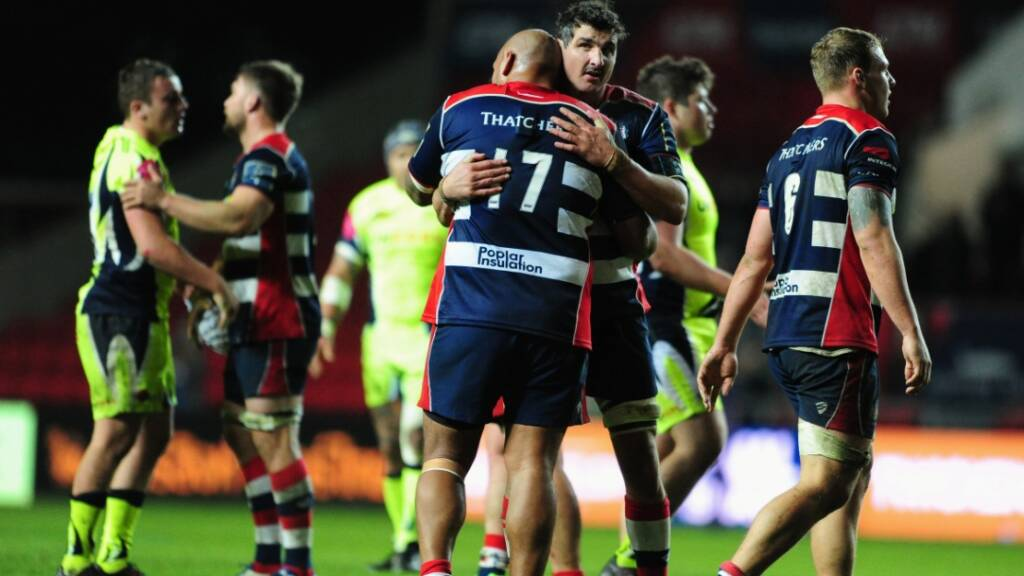 Bristol Rugby celebrate their first win of the season