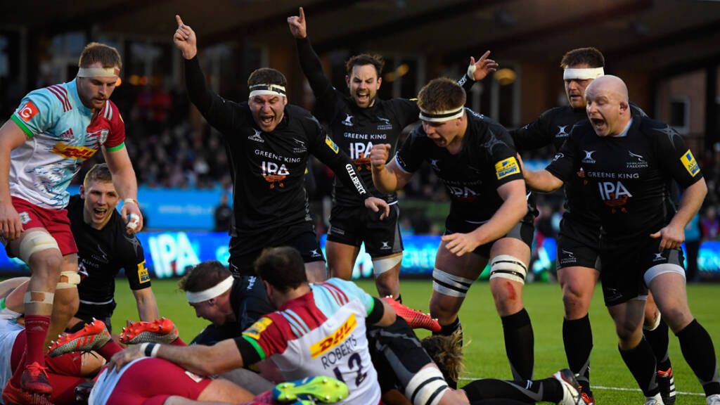 Newcastle Falcons celebrate