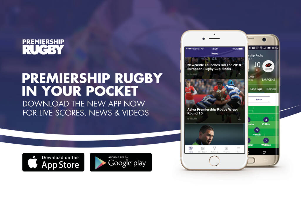 The FREE Premiership Rugby matchday app