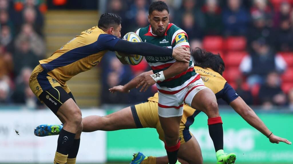 Telusa Veainu scored a brilliant first-half try on his return to Leicester Tigers colours