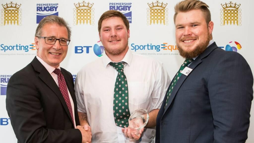 Left to right – Mark Pawsey MP, Ben Nutt, London Irish player Richard Palframan