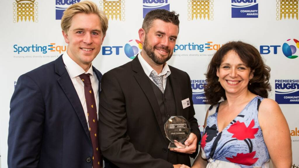Bristol Rugby's Kris Tavender scoops Community Coach of the Year gong at Premiership Rugby's Parliamentary Community Awards