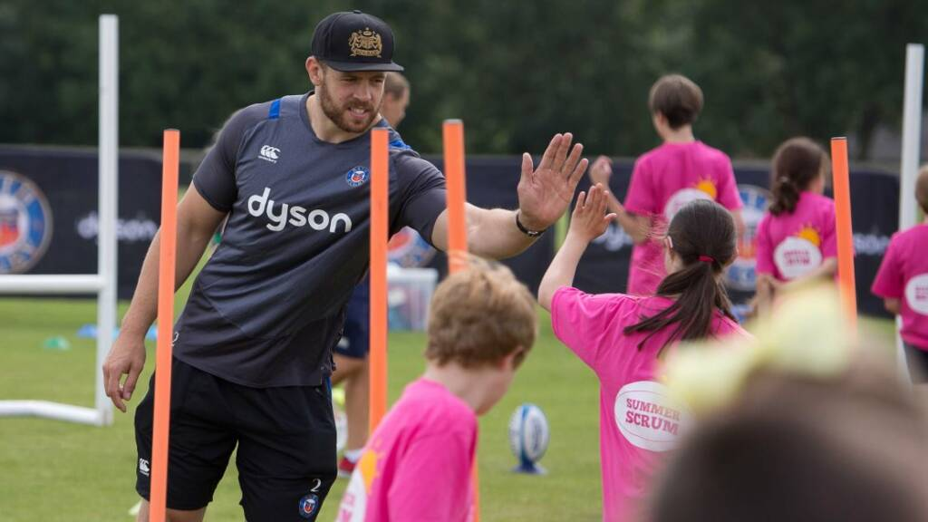 Dave Attwood and team-mates happy to lend a hand at Bath Rugby Foundation's Summer Scrum