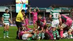 Gloucester Rugby celebrate after scoring a try against Newcastle Falcons