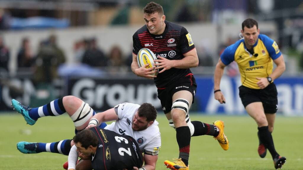 Ben Earl makes a surging run for Saracens