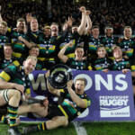 Northampton Saints celebrate winning the A league title
