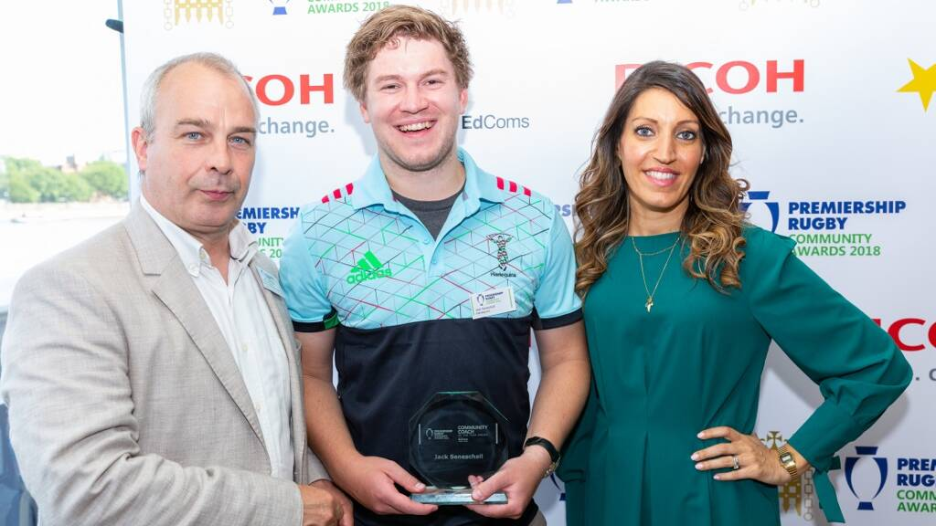 Inspirational Harlequins coach claims top prize at the Premiership Rugby Parliamentary Community Awards
