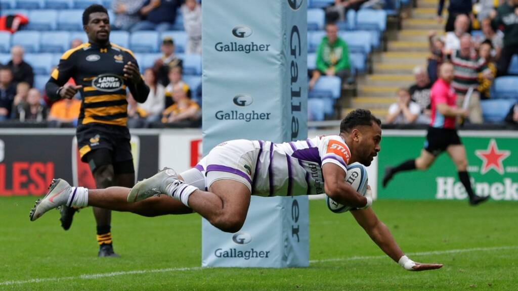 Telusa Veainu of Leicester Tigers scores their second try during the Gallagher Premiership Rugby match between Wasps and Leicester Tigers