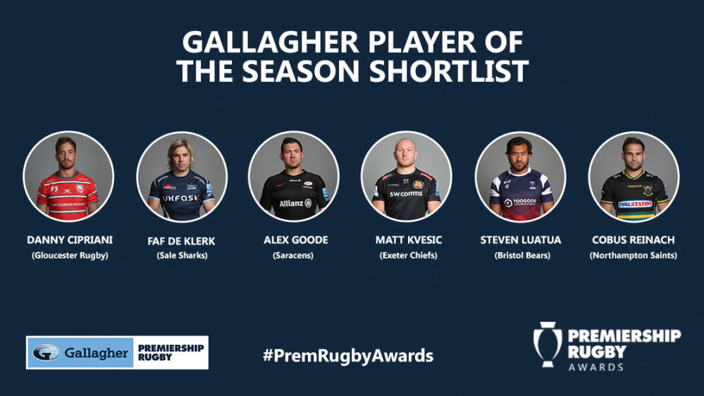 Premiership Rugby Gallagher Premiership Rugby Player Of The Season Shortlist Announced