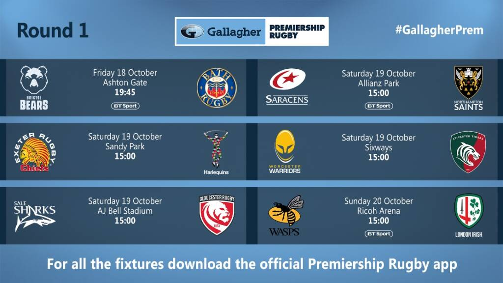 Gallagher Premiership fixtures 2019/20: Saracens begin title defence against Northampton Saints