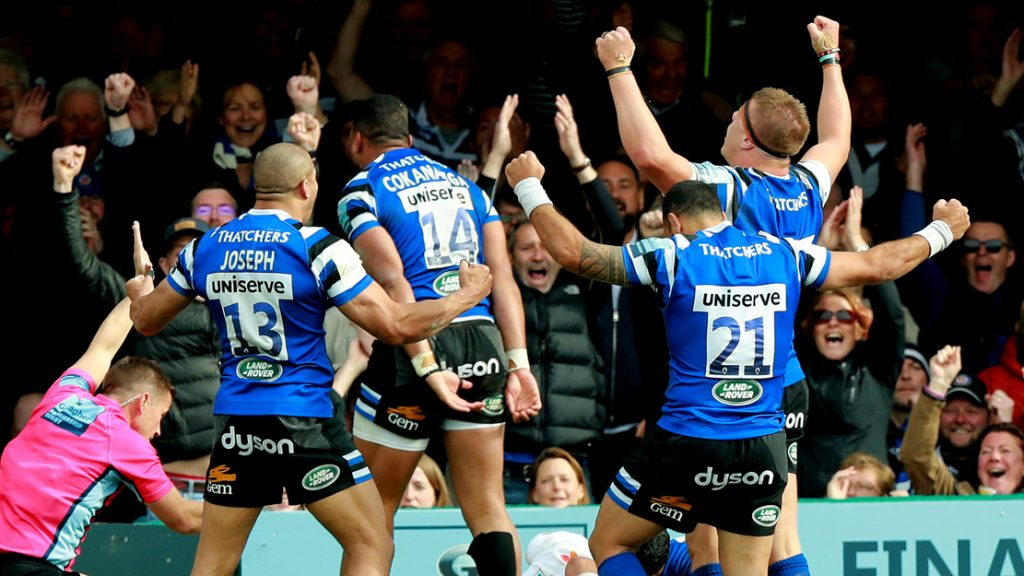 Bath rugby players celebrate