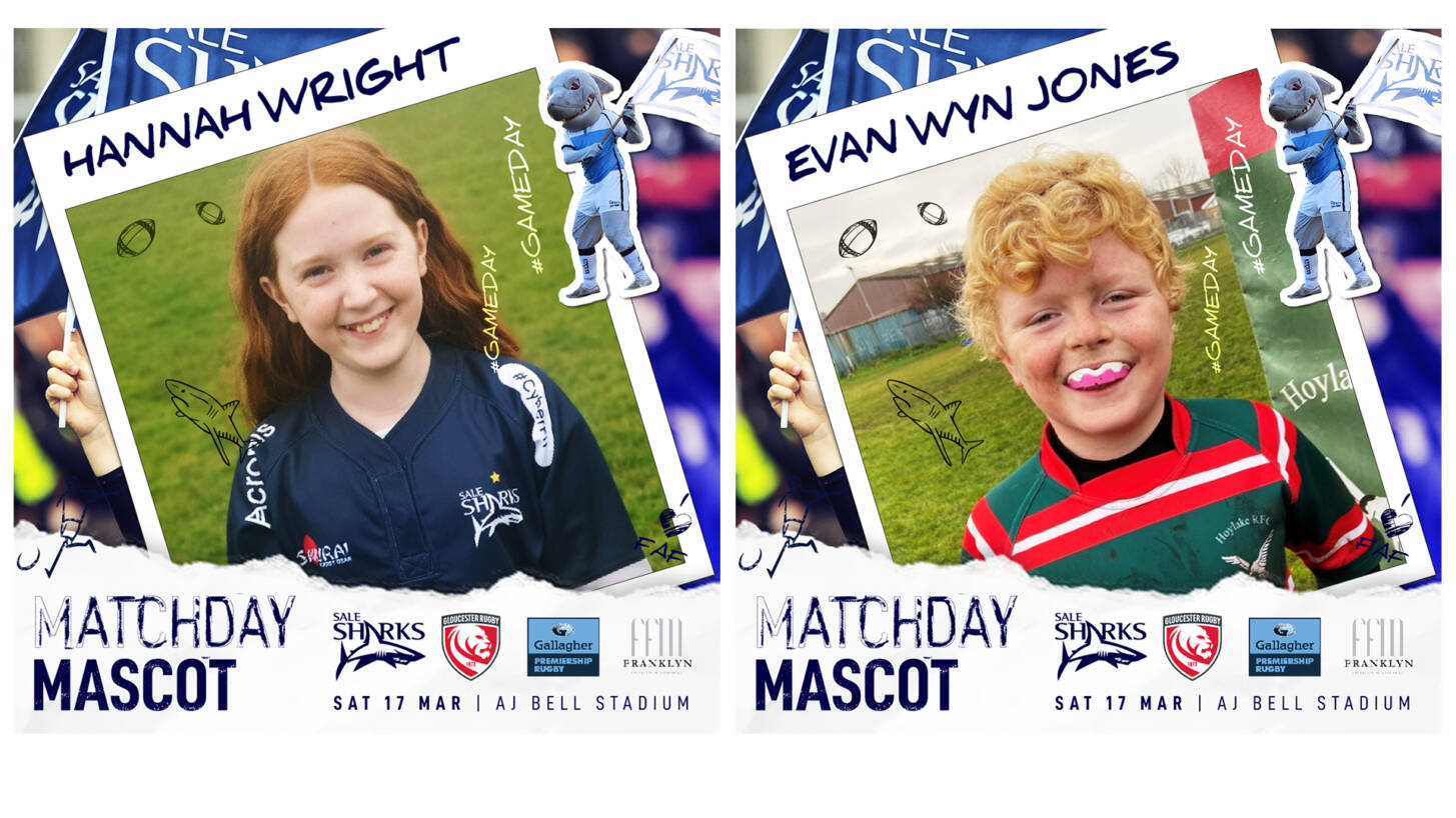MATCHDAY MASCOTS – Sale Sharks vs Gloucester Rugby