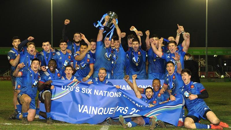 France U20 celebrate winning the Under-20 Six Nations Championship 16/3/2018