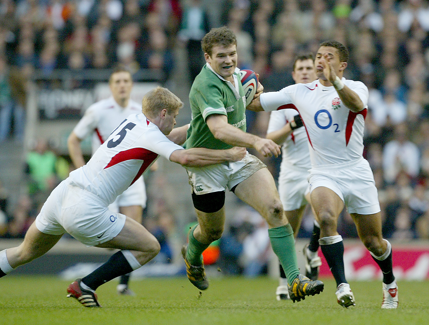 Gordon D'Arcy with Iain Balshaw and Jason Robinson 6/3/2004