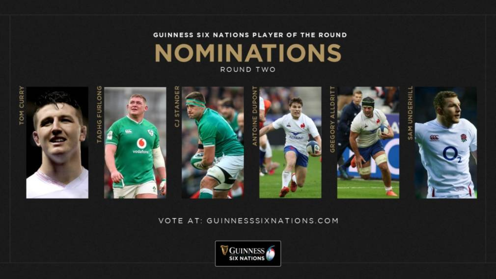 Nominees for Guinness Six Nations Player of Round 2