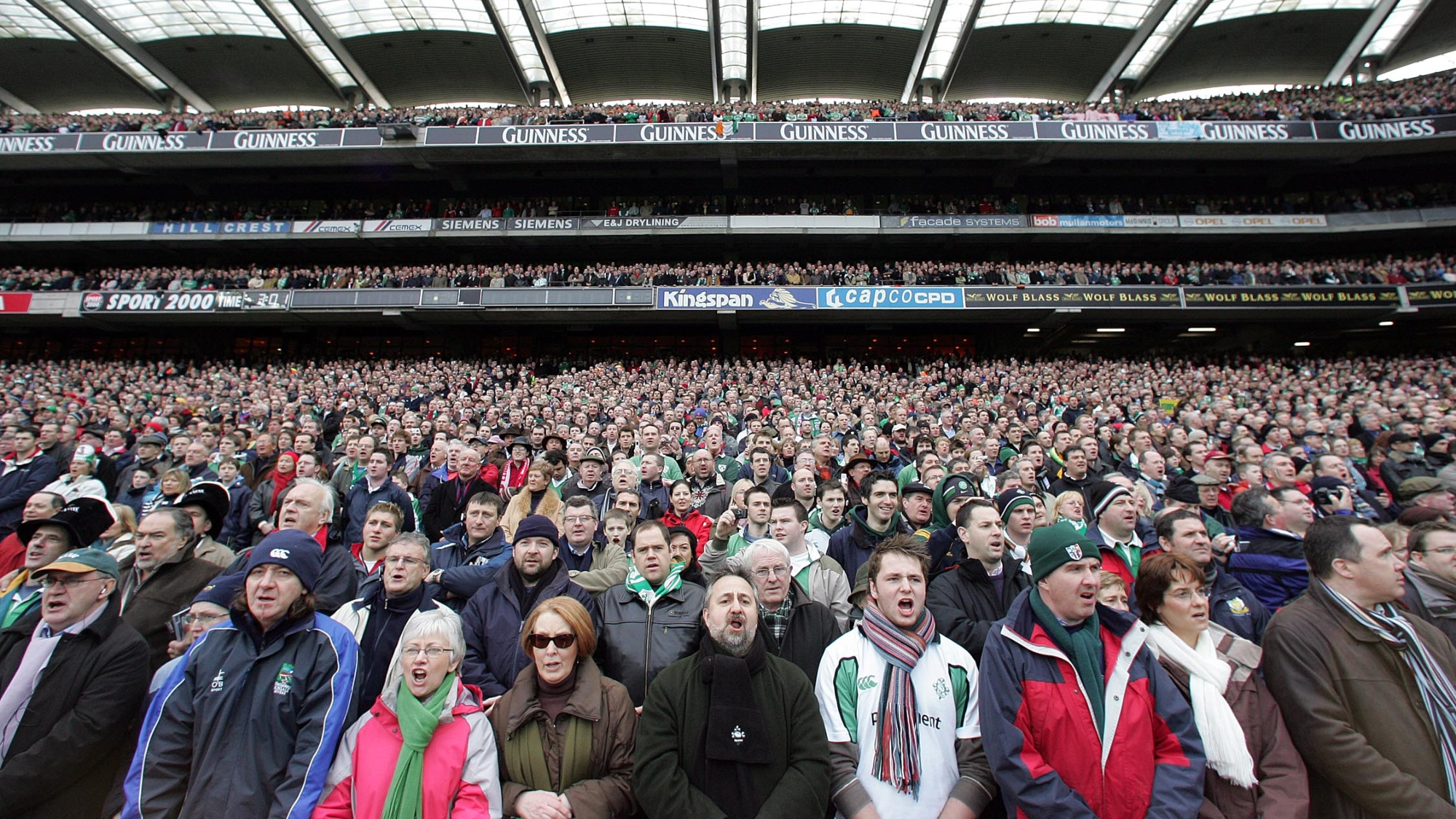 Ireland fans await the first rugby match to be played at Croke Park