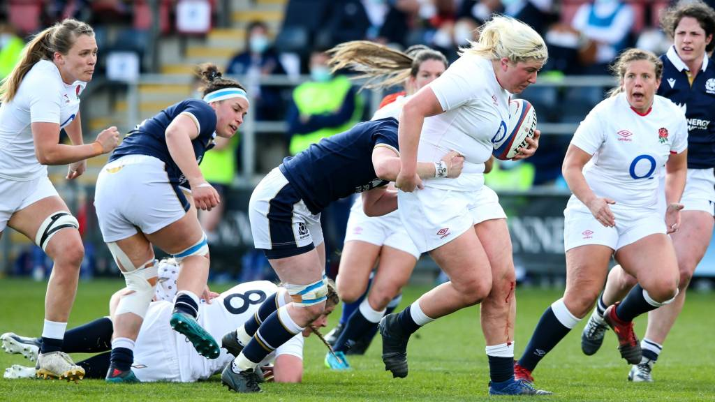 Bryony Cleall charges forward for England