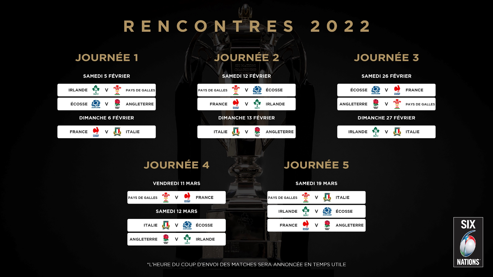 Calendrier Rugby 2022 Six Nations Rugby | Le calendrier du Tournoi des Six Nations 2022
