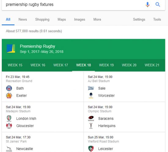 Premiership Rugby fixtures displayed on Google