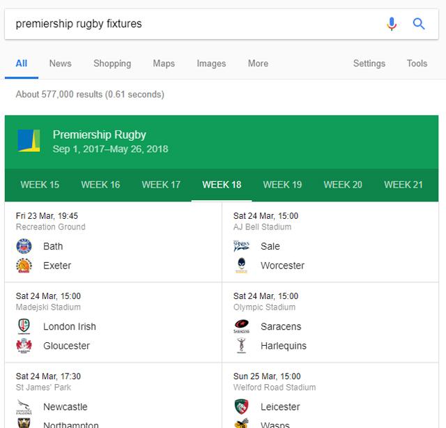 Premiership Rugby fixtures displayed on Google