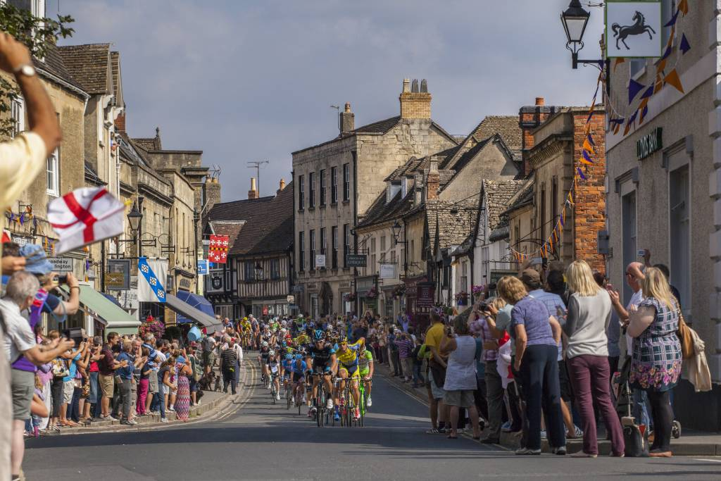 Tour of Britain 2014 Cycling passing through Winchcombe Cotswolds