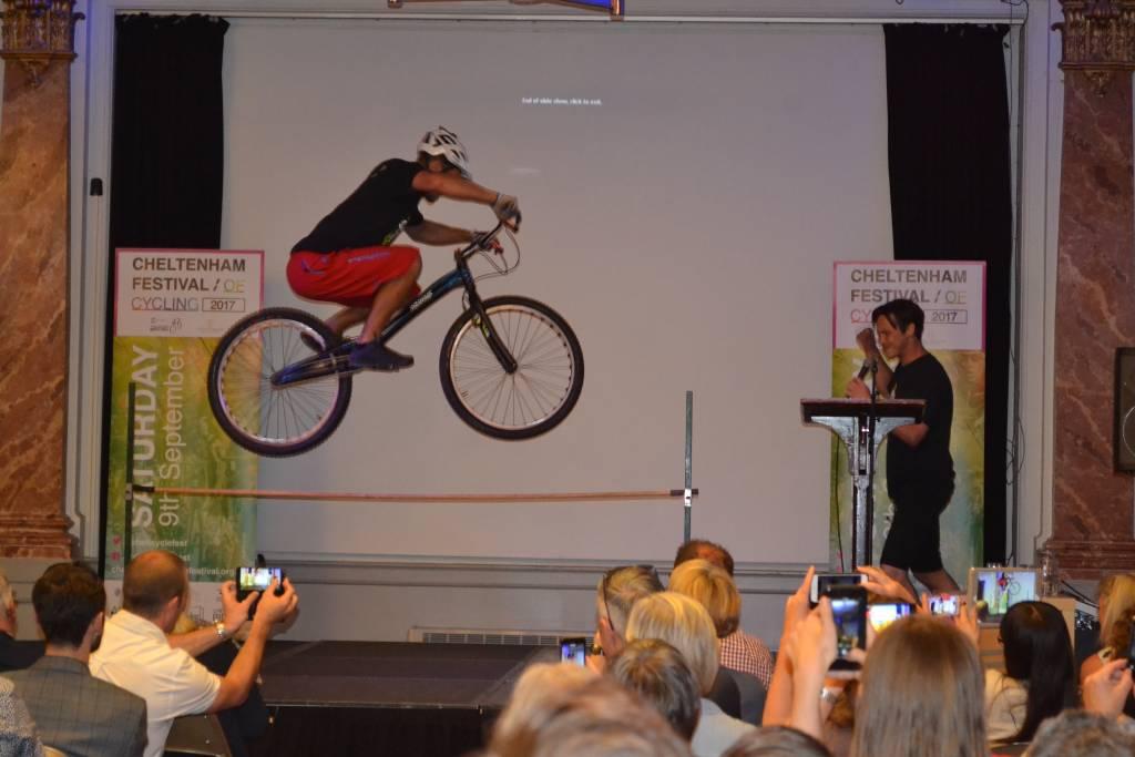 Stunt bike jump Cheltenham Cycling Festival Launch