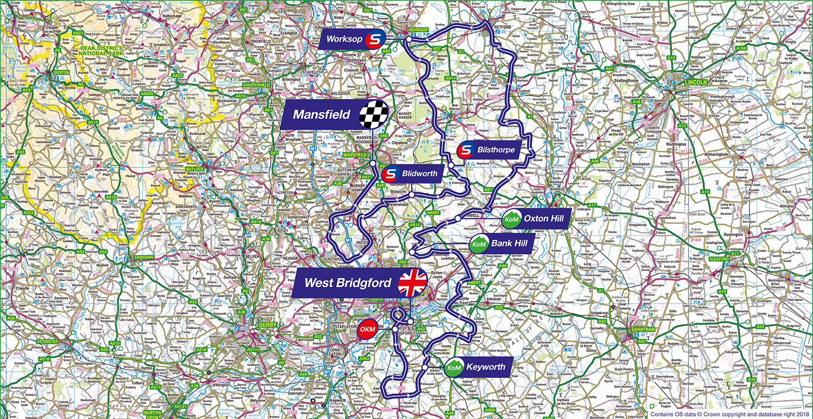 Map 9f England.Ovo Energy Tour Of Britain Stage Seven