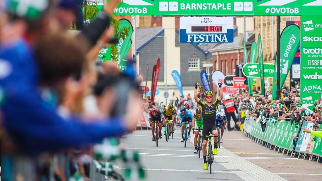 Cameron Meyer Tour of Britain stage win Barnstaple