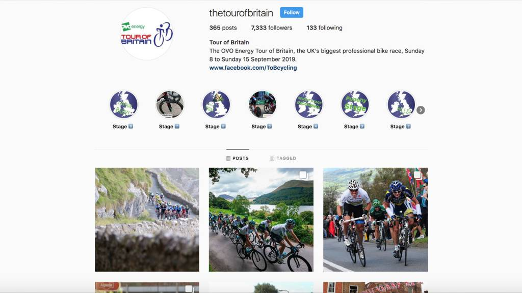 Tour of Britain Instagram