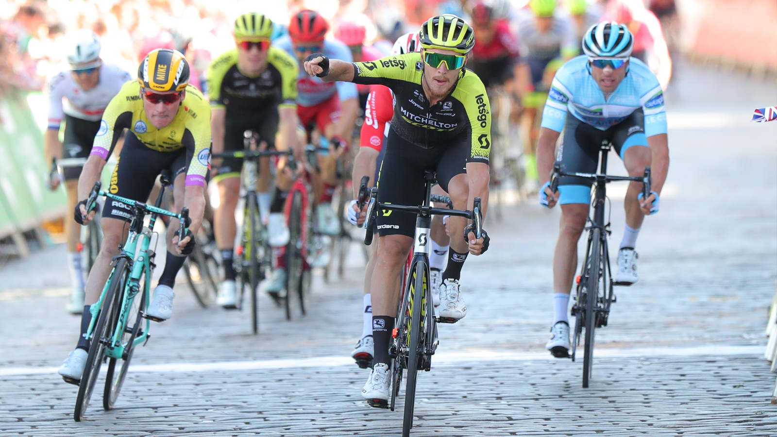 Matteo Trentin moves into OVO Energy green jersey after winning Scottish Borders stage - OVO Energy Tour of Britain