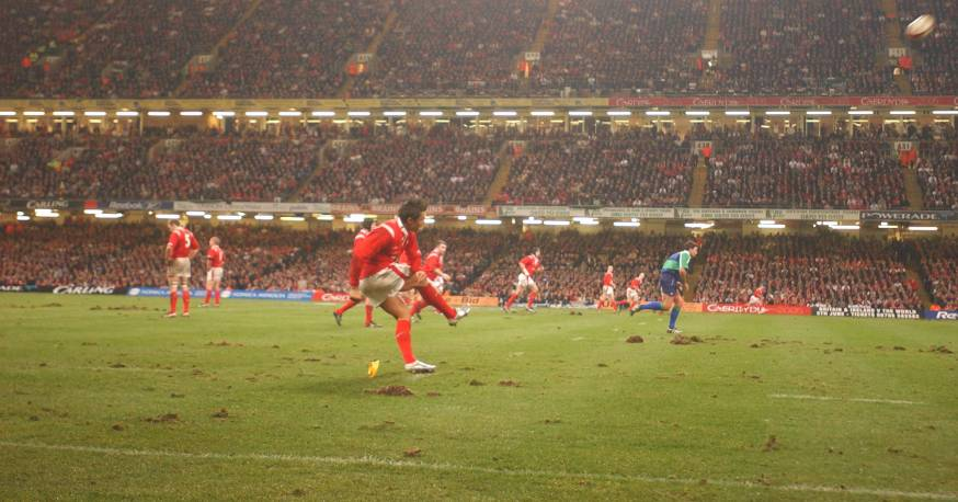Gavin Henson kicks the last gasp penalty against England in 2005 that set Wales on their way to their first Grand Slam in 27 years