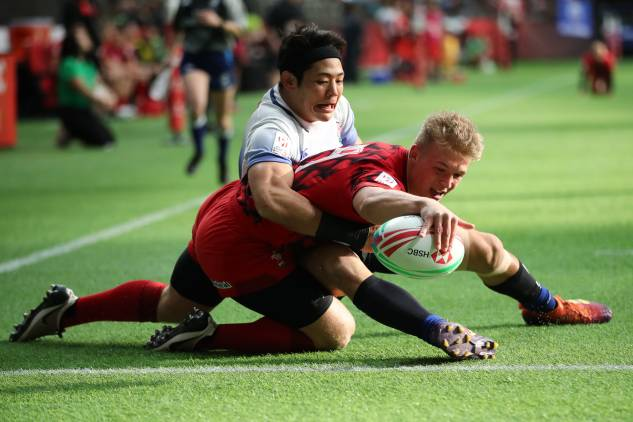 Ben Cambriani scores against Japan in Vancouver.