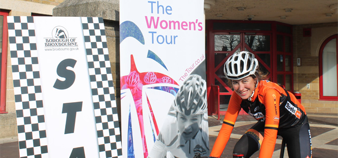 Emma Trott helps launch Cheshunt's Women's Tour stage.