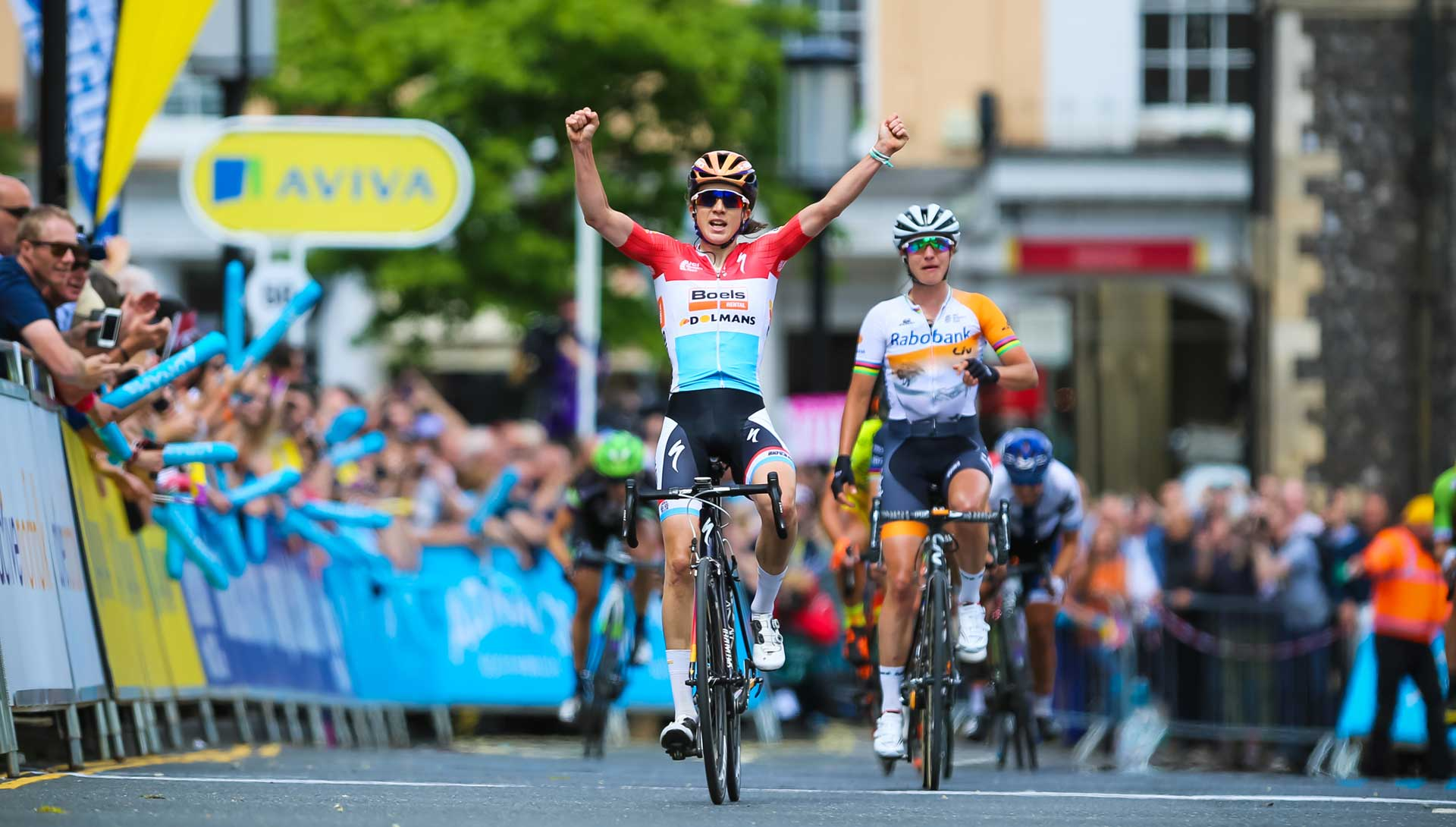 Christine Majerus sprints to opening stage victory in the Aviva Women's Tour