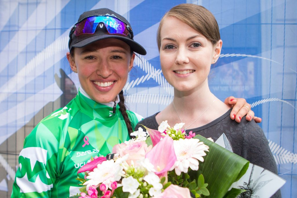 Picture by Alex Whitehead/SWpix.com - 09/06/2017 - Cycling - OVO Energy Women's Tour - Stage 3: Atherstone to Royal Leamington Spa - WM3's Katarzyna Niewiadoma and Laura Hunter, Breast Cancer Care.