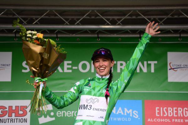 Niewiadoma Green Jersey podium Stoke