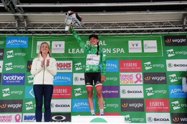 Niewiadoma podium Green Jersey Leamington Spa Stage 3 2017