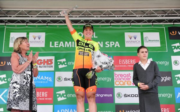 Chloe Hosking podium Stage 3 Leamington Spa