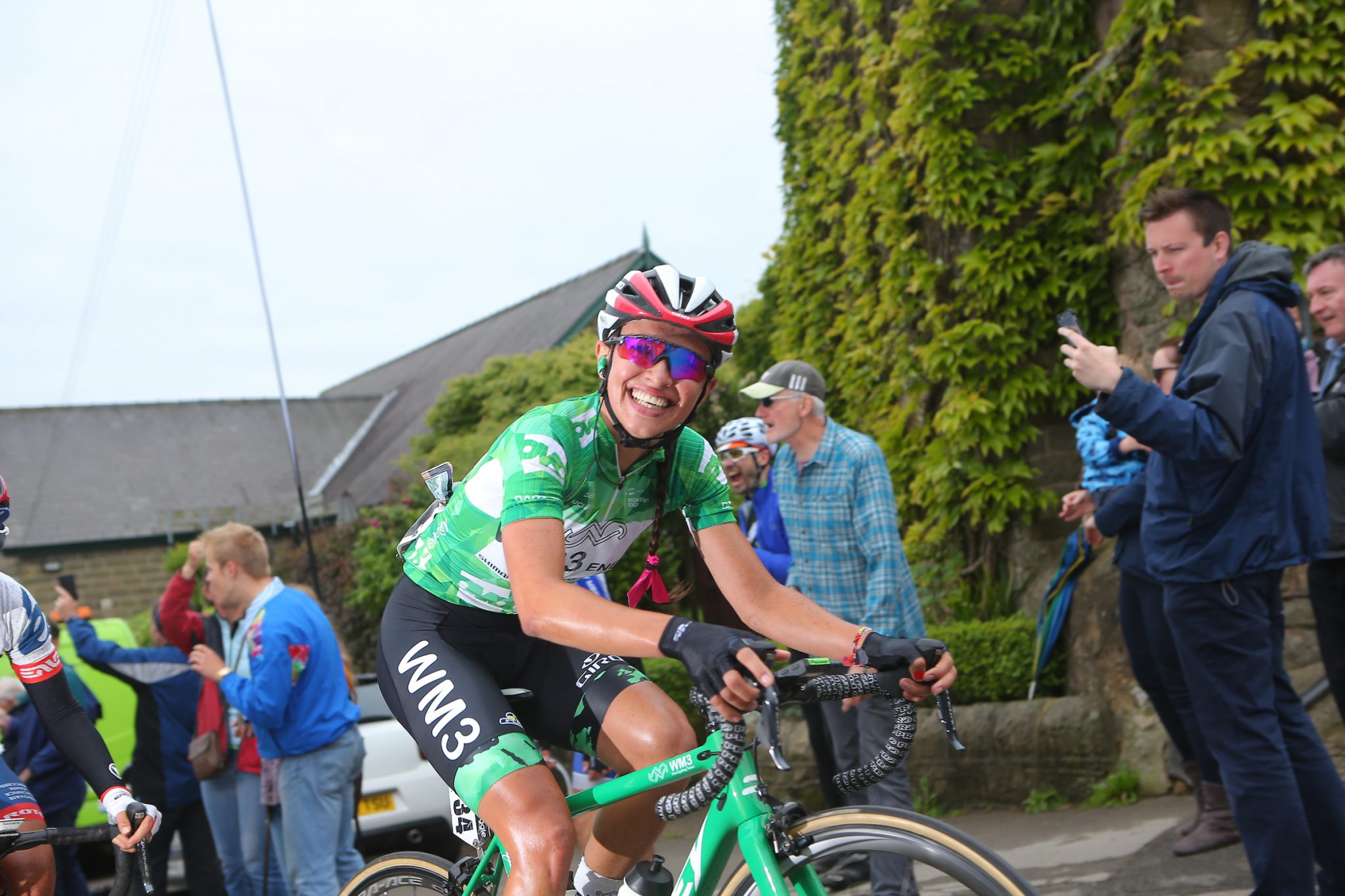 Niewiadoma OVO Energy Green Jersey smile Stage 4 Derbyshire