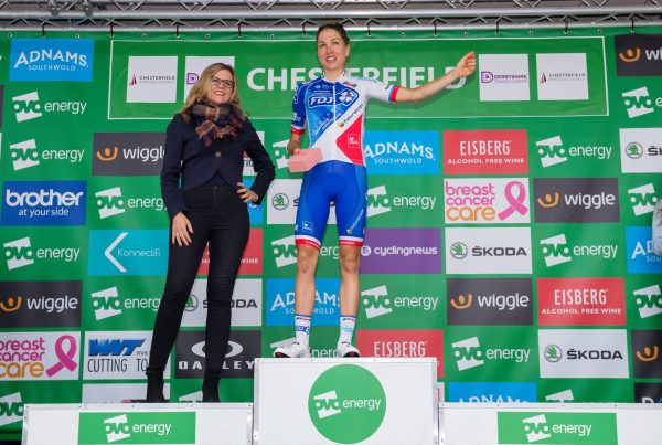 Shara Gillow FDJ podium Stage 4 Chesterfield