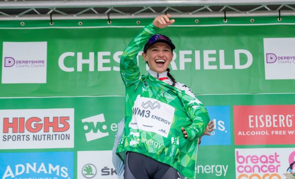 Kasia Niewiadoma OVO Energy Green Jersey podium Chesterfield