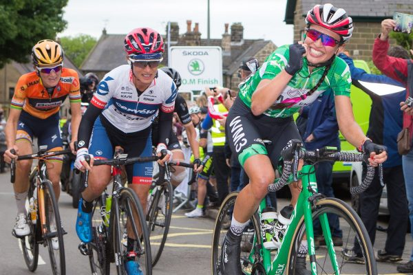 Kasia Niewiedoma Stage 4 Derbyshire Green Jersey smiling