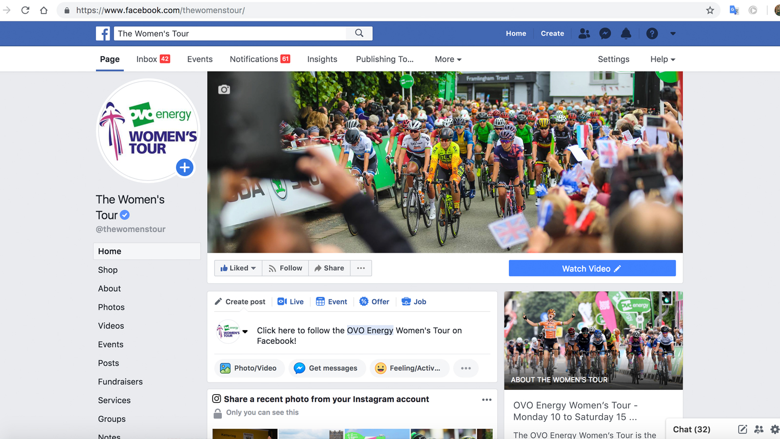Women's Tour Social Media Facebook