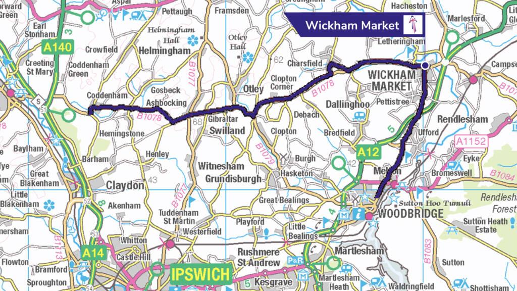 Suffolk Women's Tour route